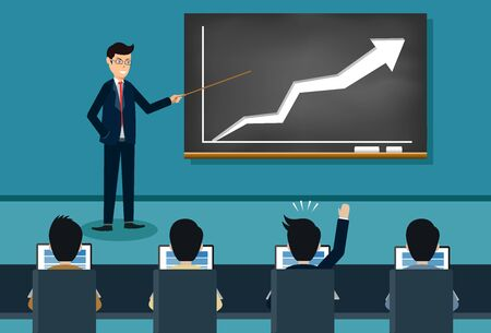 training theme businessman icon. person giving a presentation growing business finance on blackboard. Lecturer holds a conference. and comment on the participants. Vector illustration Stock Illustratie