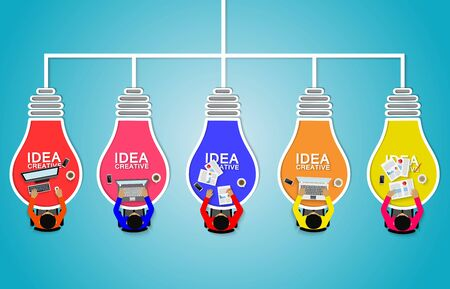 Business meeting with light bulb. teamwork. Businessmen help to brainstorm creative idea. and to achieve higher and success in the organization. vector illustration