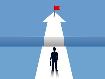 Businessmen are walking on white arrows with gap between paths in front. go to the goal of success on the opposite. business finance concept. creative idea. illustration vector.