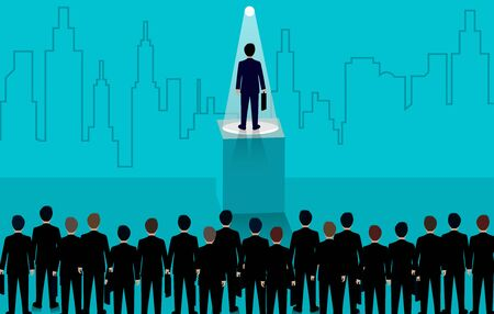 Businessmen standing in the light. flashlight shining down. Recruiting personnel idea with excellent skill and talent. business success. creative. leadership. vector illustration.