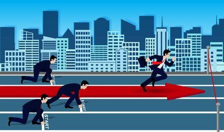 Businessmen competition run to the finish line to success in business.  go to target growth. creative idea. leadership. vector illustration 向量圖像