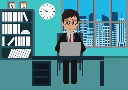 Businessman in worker in office sit at the desks with notebook.  workspace with table and computer. Big boss office. There is furniture a blue background in the picture. vector illustration