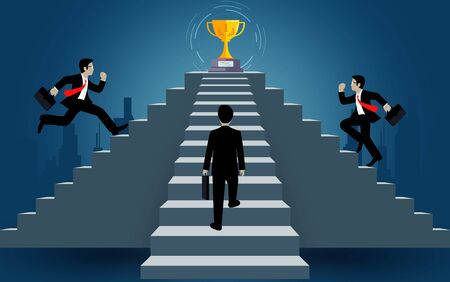 businessman run up on staircase go to goal. destination, victory  to success concept with idea. leadership concept. Ladder to success business. Cartoon vector illustration