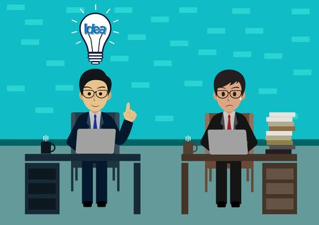 Businessman two in worker in office sit at the desks with notebook with light bulb over his head one person. workspace with table and computer. creative idea. leadership. vector illustration