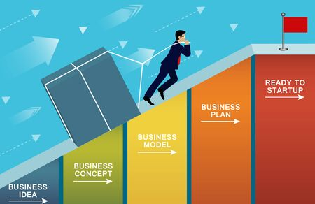 Businessmen pulling the concrete up the slope on bar graph. go to the goal of financial business success and Efforts go to target growth. creative idea. leadership. vector illustration
