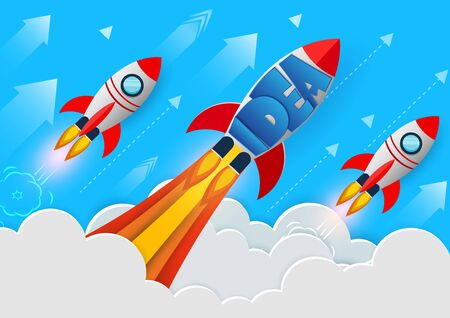 space shuttle launch to the sky. start up business finance concept. competition for success and corporate goal. creative idea. icon. leadership. vector illustration paper art 向量圖像