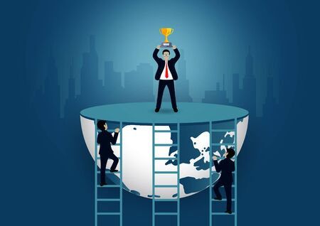 Successful business finance race concep. Businessmen walk up the staircase to the goal. on city background. and progress in the job. Of the highest organization. world vector illustration Ilustração