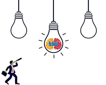 creative idea concept. light bulb brain icon. Businessman holding binoculars looking goal success. isolated background white. business finance. Vector illustration 向量圖像