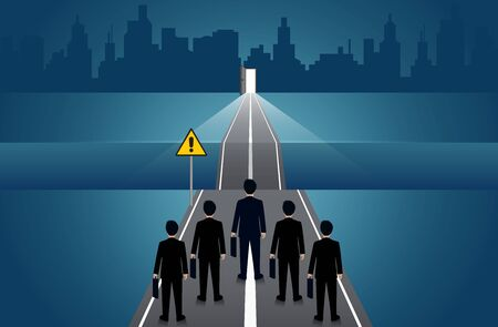 Businessmen compete go on the road there is a gap between the path withgo to the door. business concept of challenge problem solving. leadership. creative idea. vector illustration Ilustração