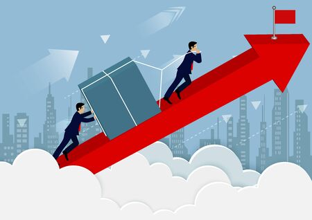 teamwork concept. Businessmen help push the barriers up the on red arrow go To the goal of financial business success. creative idea. vector illustration