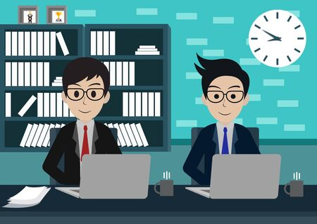Businessman two in worker in office sit at the desks with notebook. workspace with table and computer. Big boss office. There is furniture a blue background in the picture. vector illustration