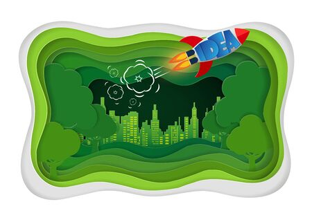 Green city concept  crafts and paper art. reduce global warming and save the environment. space shuttle launches into the sky. vector illustration Ilustração