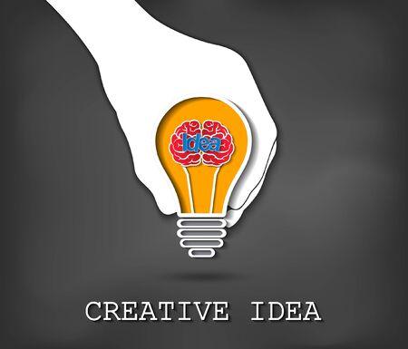 creative idea concept. hand holding glowing light bulb brain icon. business finance. Vector illustration 向量圖像
