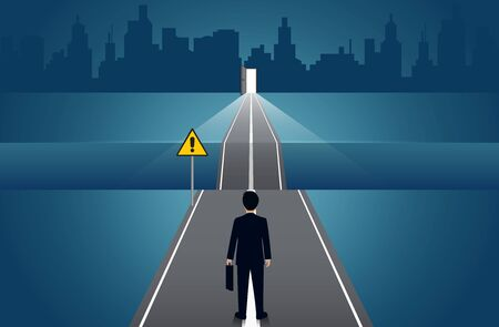 Businessmen walk go on the road there is a gap between the path withgo to the door. business concept of challenge problem solving. leadership. creative idea. vector illustration 일러스트