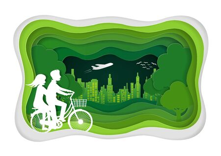 Men and women are cycling in the lawn. paper art carving of and park on green town shape. ecology friendly. vector art and illustration Zdjęcie Seryjne - 129290573