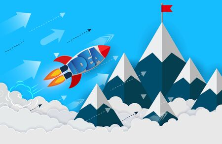 space shuttle launch to the sky. isolated from the blue background.  start up business finance concept. competing for success and corporate goal. creative idea. icon. vector illustration paper art