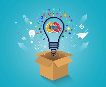 concept d'idée créative. sortir des sentiers battus. ampoule d'icône de cerveau. concept de réussite financière de l'entreprise. vecteur d'illustration. Commencez.