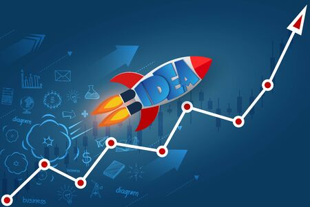 space shuttle launch to the sky. on arrow graph line white.  start up business finance concept. competing for success and corporate goal. creative idea. icon. leadership. vector illustration 向量圖像