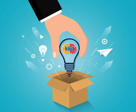 creative idea concept. think outside the box. hand businessman picked a brain icon light bulb. business financial success concept. illustration vector. startup 向量圖像