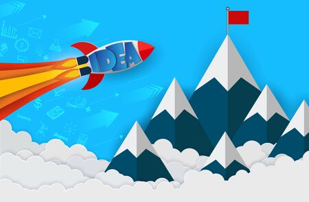 space shuttle launch to the sky go to goal to achieve success. start up business finance concept. competing for success and corporate goal. creative idea. leadership. icon. vector illustration 向量圖像
