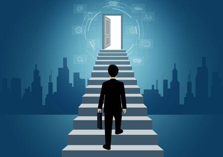 Les hommes d'affaires montent l'escalier jusqu'à la porte. gravir les échelons pour atteindre l'objectif de réussite dans la vie et progresser dans le travail. de la plus haute organisation. concept de finance d'entreprise. icône. illustration vectorielle Vecteurs