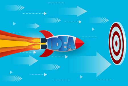 space shuttle go to goal to achieve success. creative idea. leadership. advantage. Business Success concept. Vector Illustration