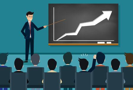 Ausbildung Thema Geschäftsmann Symbol. Person, die eine Präsentation hält, die auf der Tafel wächst Dozent hält eine Konferenz. und kommentieren die Teilnehmer. Vektor-Illustration Vektorgrafik