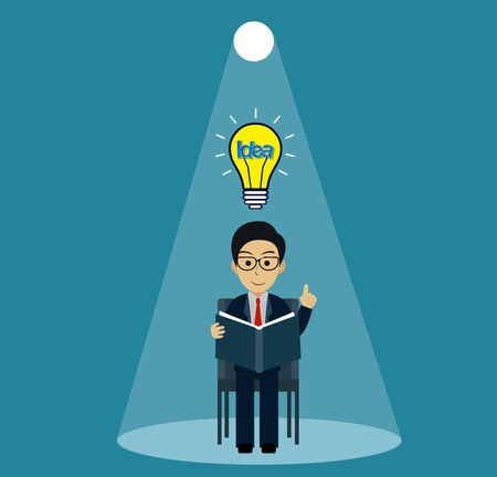 man sitting in a chair reading a book with light bulb over his head one person and lighting flashlight shining down. creative idea. Initiative. leadership. vector illustration Illustration