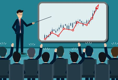 training theme businessman icon. person giving a presentation growing business finance on blackboard. Lecturer holds a conference. and comment on the participants. Vector illustration 向量圖像
