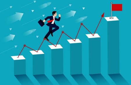 Businessmen run on up the bar graph to the goal destination. victory to success concept with idea. leadership concept. ladder to success business. on background blue. cartoon vector illustration 向量圖像