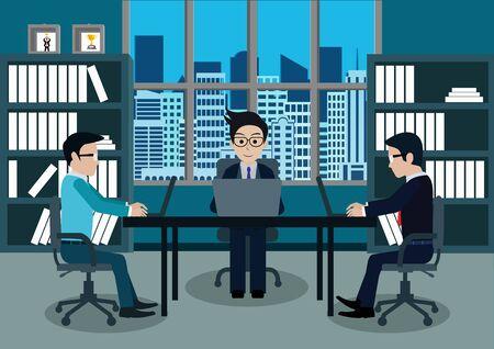 Geschäftsmann drei in der Arbeitskraft im Büro sitzen an den Schreibtischen mit Notebook. Arbeitsplatz mit Tisch und Computer. Großes Chefbüro. Auf dem Bild sind Möbel mit blauem Hintergrund. Vektor-Illustration Vektorgrafik