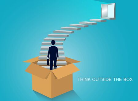 think outside the box. businessmen walk up the stairs to the door. step up the ladder to success goal in life and progress in the job. of the highest organization. Business finance concept. leadership