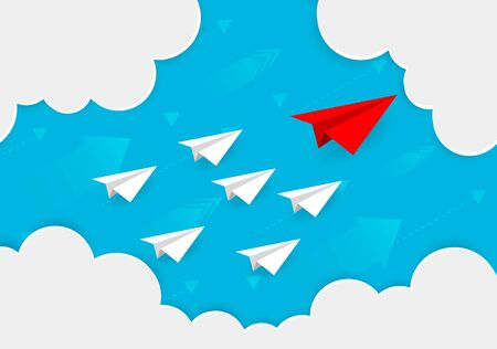 Paper plane are competition to destinations up to the sky go to success goal. business financial business. leadership. creative idea. illustration vector. start up. paper art style