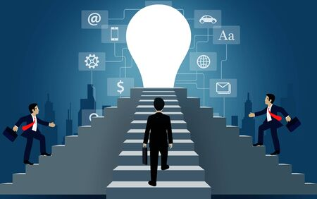 Businessmen walk up the stair to the door light bulb. destination, victory  to success concept with idea. leadership concept. Ladder to success business. cartoon vector illustration