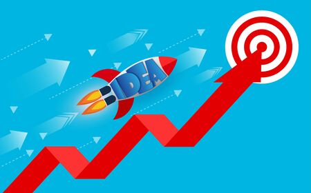 space shuttle launches go to the goal on red arrow. financial business success and effort go to target growth. creative idea. leadership. vector illustration Иллюстрация