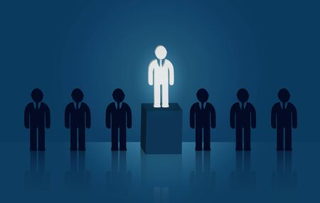 Businessmen standing in the midst of people. There is a bright light out. leadership concept. Creative idea. successful growth in business.  vector illustration