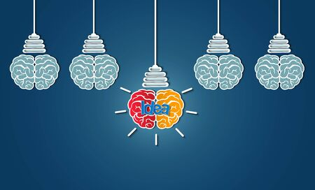 Creative idea brain icon with light bulb. spark success in business inspiration. isolate on blue background. vector illustration
