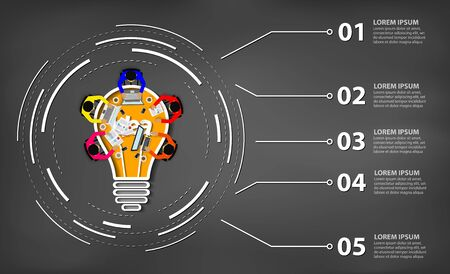 Business meeting. creativity inspiration planning light bulb icon concept. teamwork. businessmen help to brainstorm idea to achieve higher and success. vector illustration 向量圖像