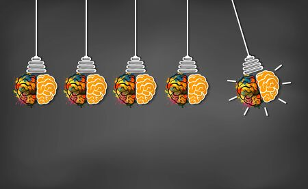 brain icon head with multiple light bulb sparking Many color idea in business. modern creative. on blackboard background. open mind. Vector illustration 向量圖像