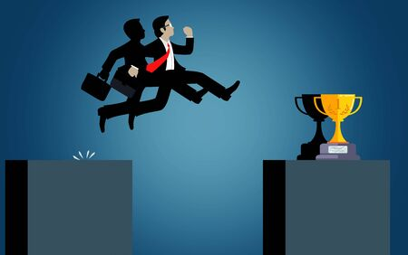 Businessman jump over obstacles chasm go to the goal.  business success. challenge, risk, and overcome problem or obstacles. Cartoon, vector illustration.