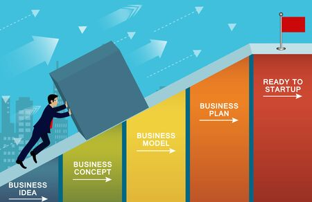 Businessmen push forward the concrete up the slope on bar graph. go to the goal of financial business success and Efforts go to target growth. creative idea. leadership. vector illustration