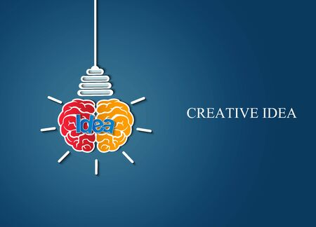 brain icon head with light bulb. sparking creative idea in business and success. on blue background. Vector illustration 向量圖像