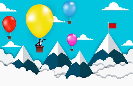 Businessman standing on Balloon yellow looking with the  binocular go to red flag on sky between mountain. go to business success goal. creative idea. leadership. illustration vector