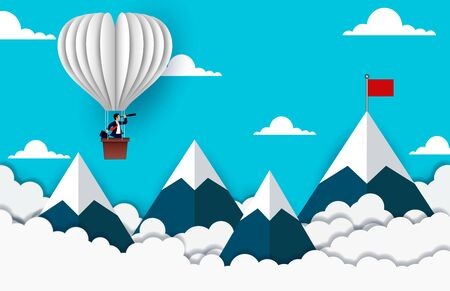 Businessman standing on Balloon looking with the  binocular go to red flag on sky between mountain. go to business success goal. creative idea. leadership. illustration vector