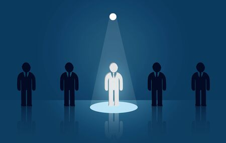 Businessmen standing in the midst of people. flashlight shining down. there is a bright light out. leadership concept. Creative idea. successful growth in business.  vector illustration Ilustração