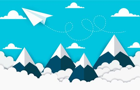concept of business success. paper plane flying on sky between cloud and mountain. beautiful natural landscape. To the target. creative idea. vector illustration