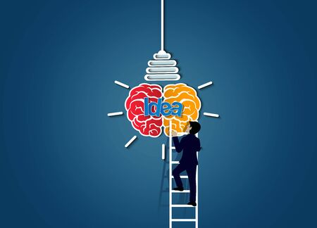 businessman race walking up on staircase go to lamp. destination. victory  to business success concept with idea light bulb. leadership. creative. on background blue. vector illustration