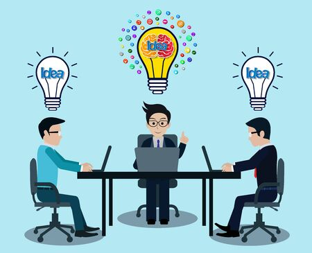 Businessman three in workspace sit at the desks with notebook with light bulb over his head. creative idea. leadership. icon vector illustration 向量圖像