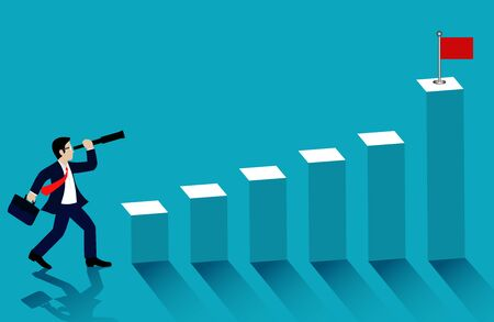 Businessman standing looking with the  binocular go to bar graph with red flag. on blue background. go to business success goal. cartoon. illustration vector 向量圖像