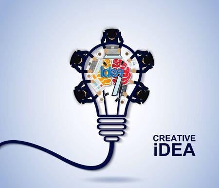 Geschäftstreffen. kreatives Ideenkonzept. Glühbirne Gehirn-Symbol. Unternehmensfinanzierung. Geschäftsleute helfen beim Brainstorming, um höher und erfolgreicher zu werden. Vektor-Illustration